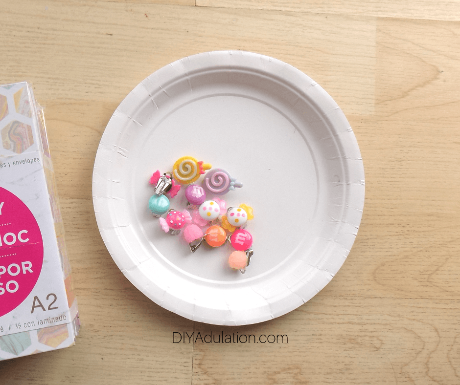 Candy Clip-On Earrings Drying on Paper Plate