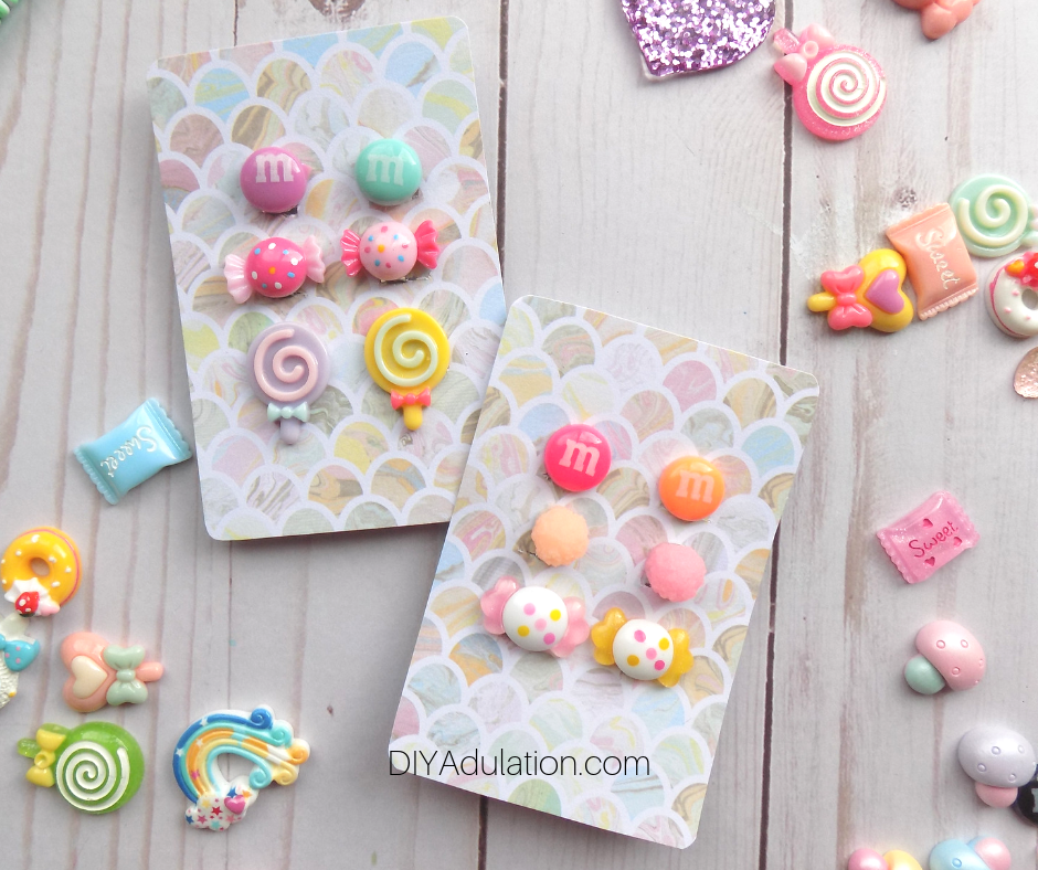 Candy Clip-On Earrings on Pastel Cards