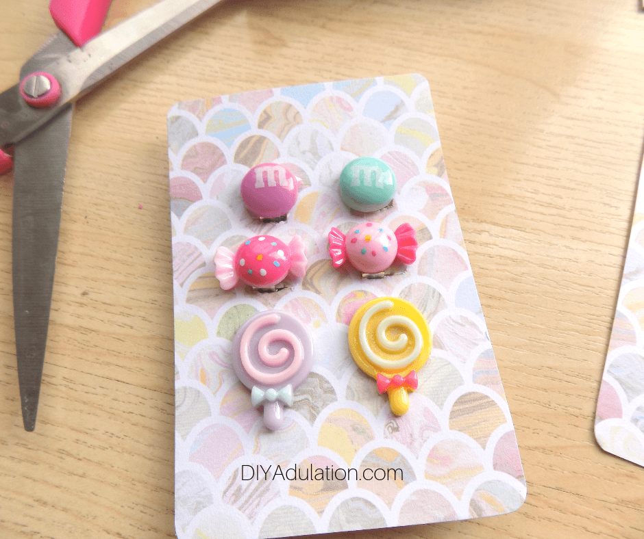 Candy Earrings on Pastel Card