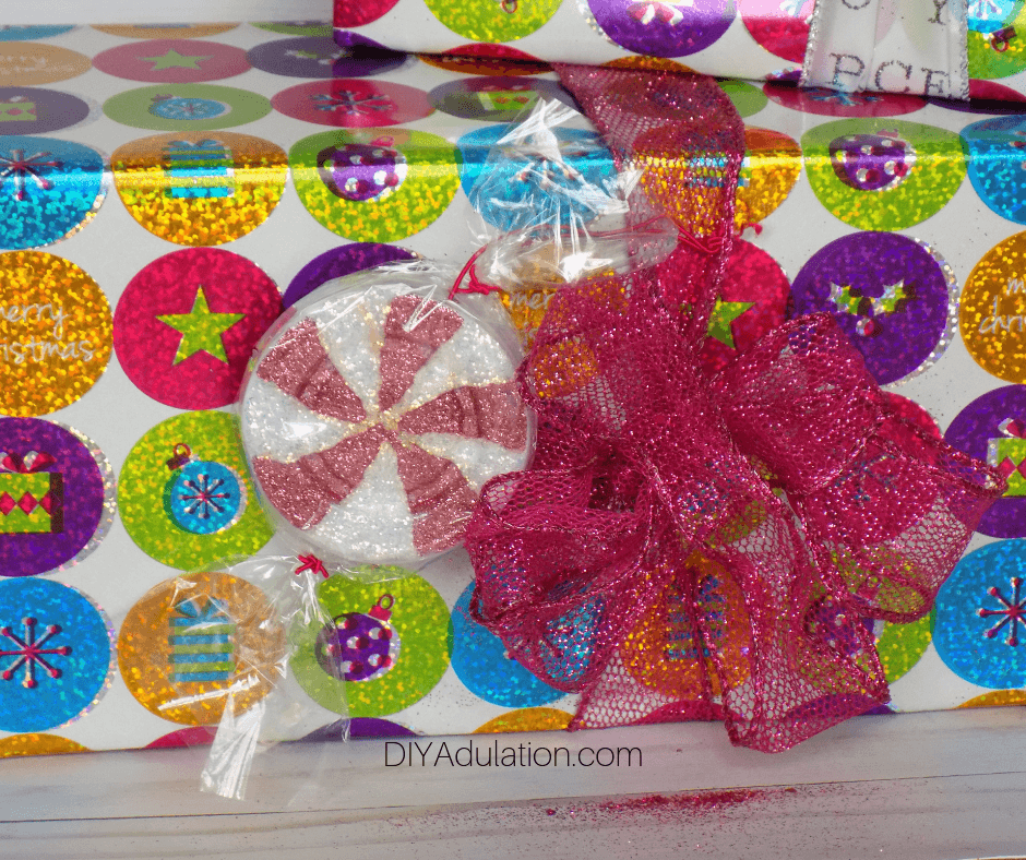 Candy Gift Tag on Glittery Gift