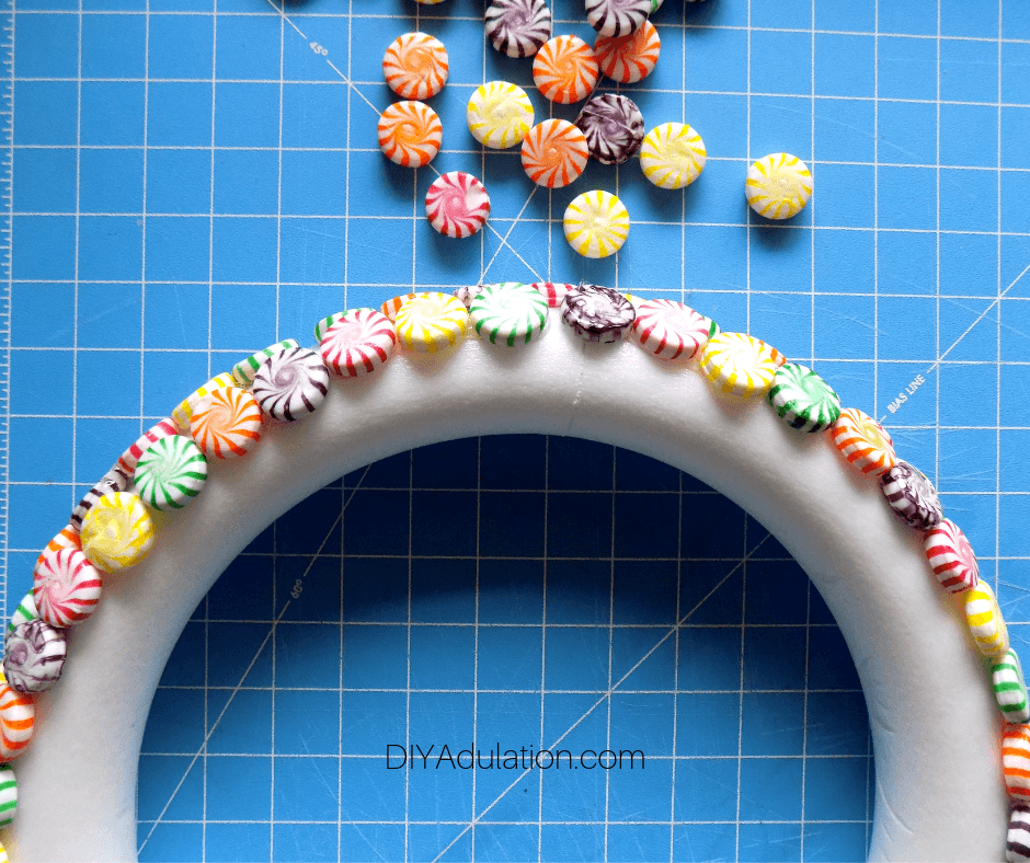 Candy Glued Around Edge of Foam Wreath Form 2