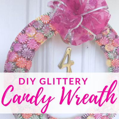 Glittery DIY Candy Wreath for Your Christmas Door