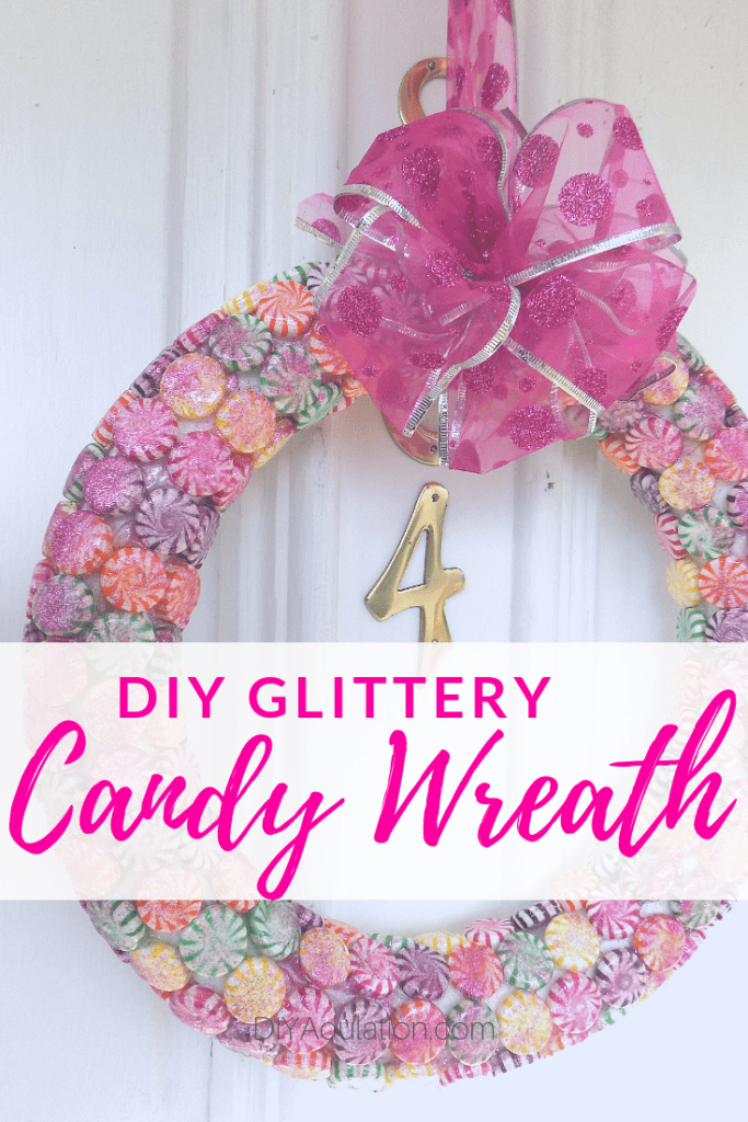 Glittery DIY Candy Wreath for Your Christmas Door