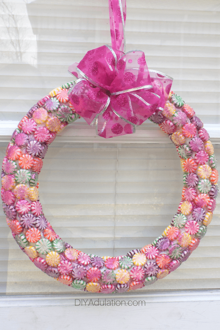 Candy Wreath Hanging on Door