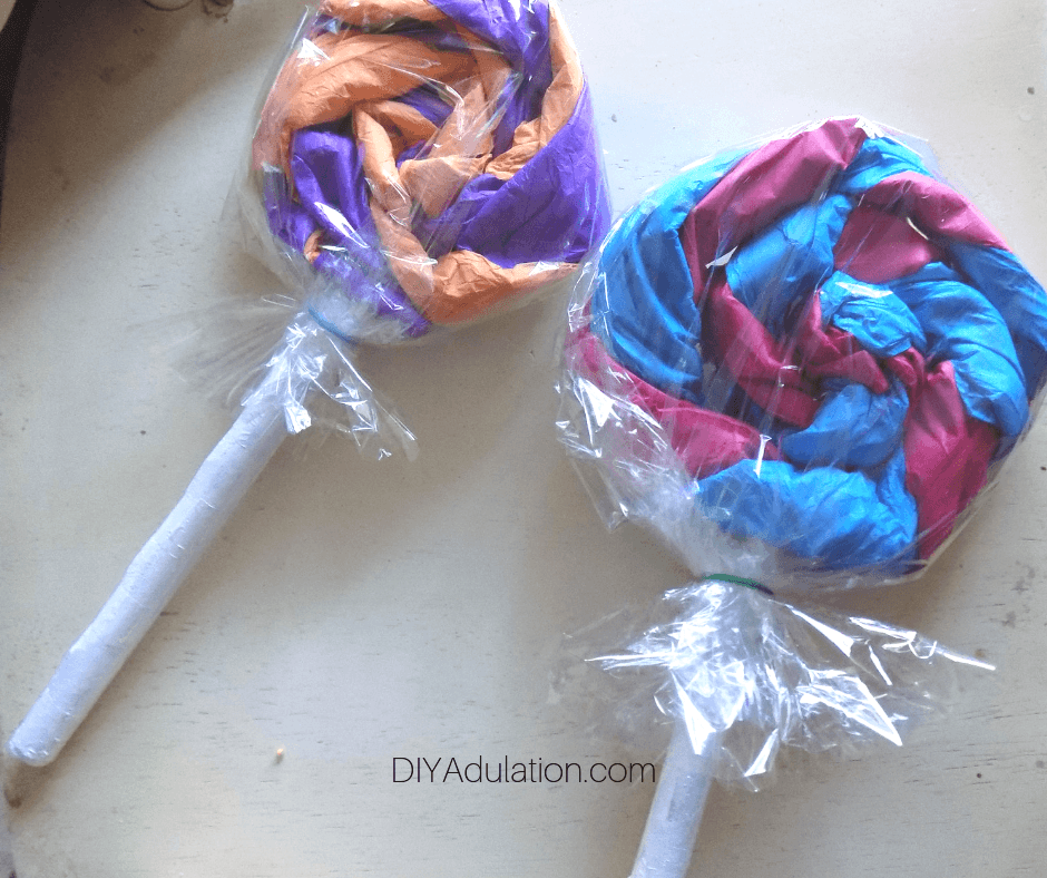 Cellophane Wrapped Tissue Paper Lollipops
