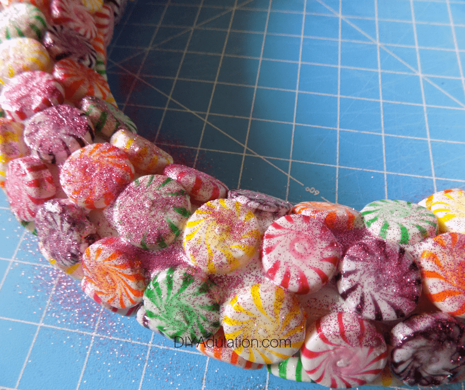 Close Up of Glitter on Candy Wreath
