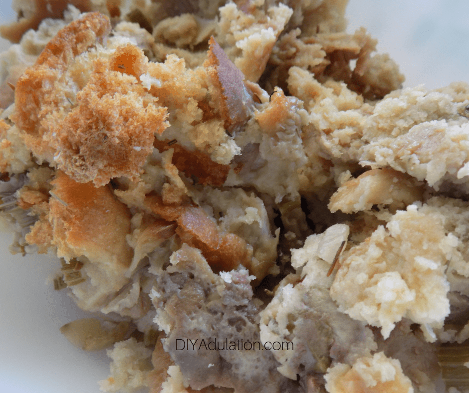 Close Up of Homemade Stuffing