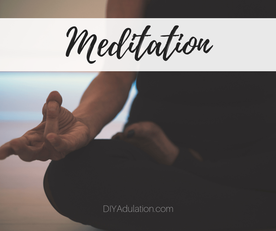 Close Up of Woman in Mediation Pose with text overlay - Meditation