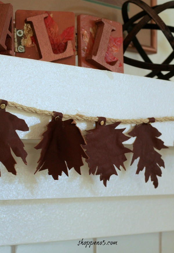 Close up of leather leaf garland on mantle