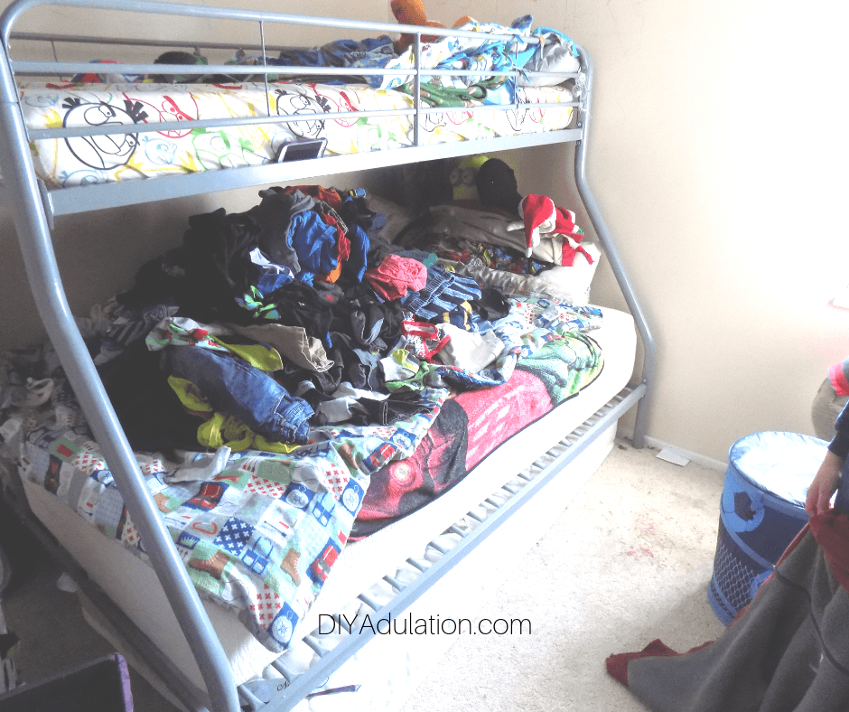 Clothes Piled on Bunk Beds