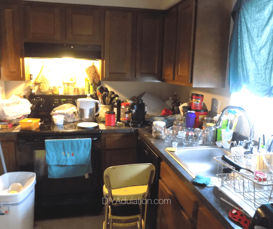 Cluttered and Messy Counters in Kitchen