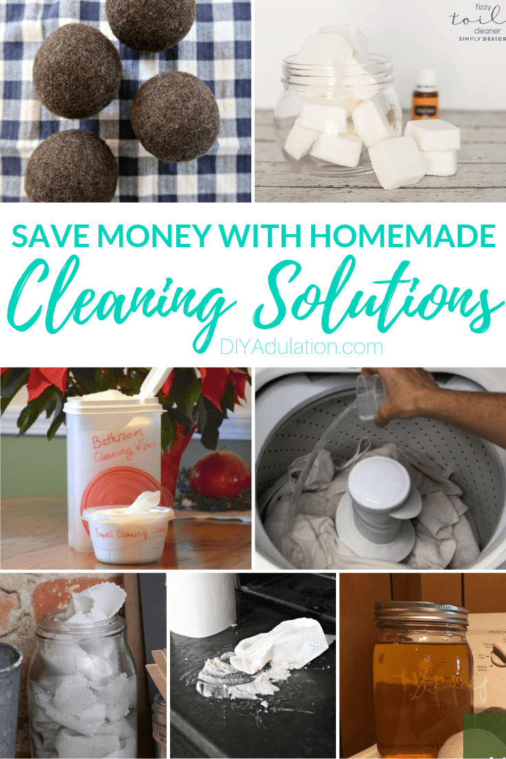 Collage of Homemade Cleaners with text overlay - Save Money with Homemade Cleaning Solutions