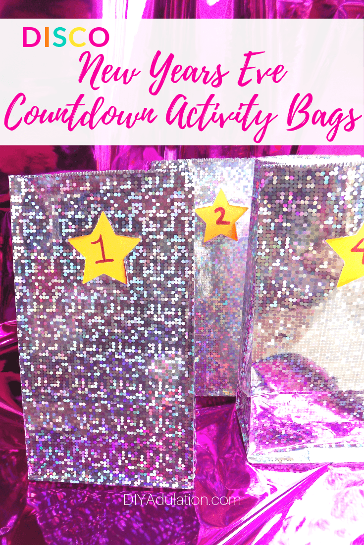 Colorful Numbered Treat Bags with text overlay - Disco New Years Eve Countdown Activity Bags