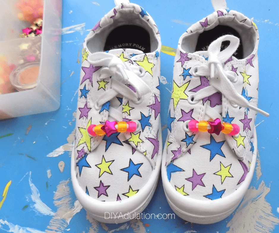 Colorful Star Shoes with Beaded Laces
