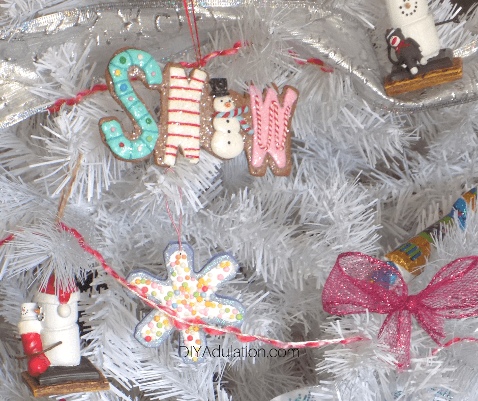 Cookie Ornaments on White Tree