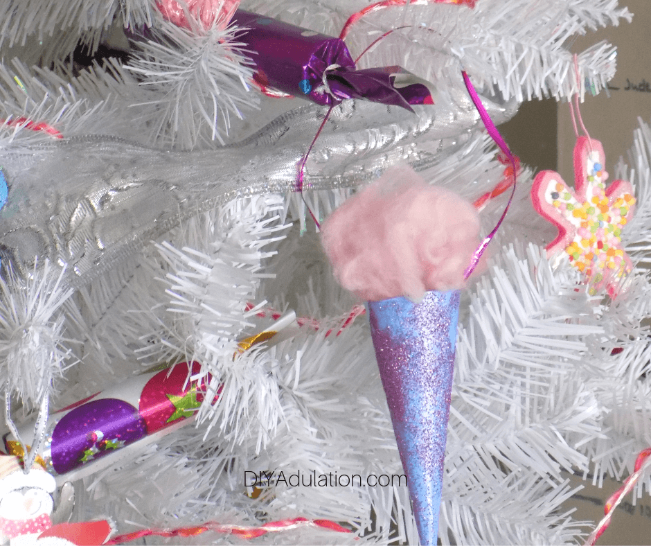 Cotton Candy Ornament on White Tree