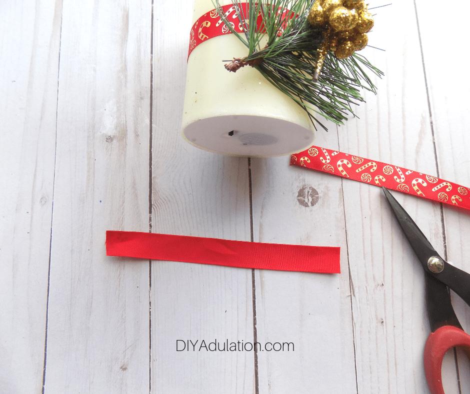 Cut Length of Ribbon Next to LED Pillar Candle