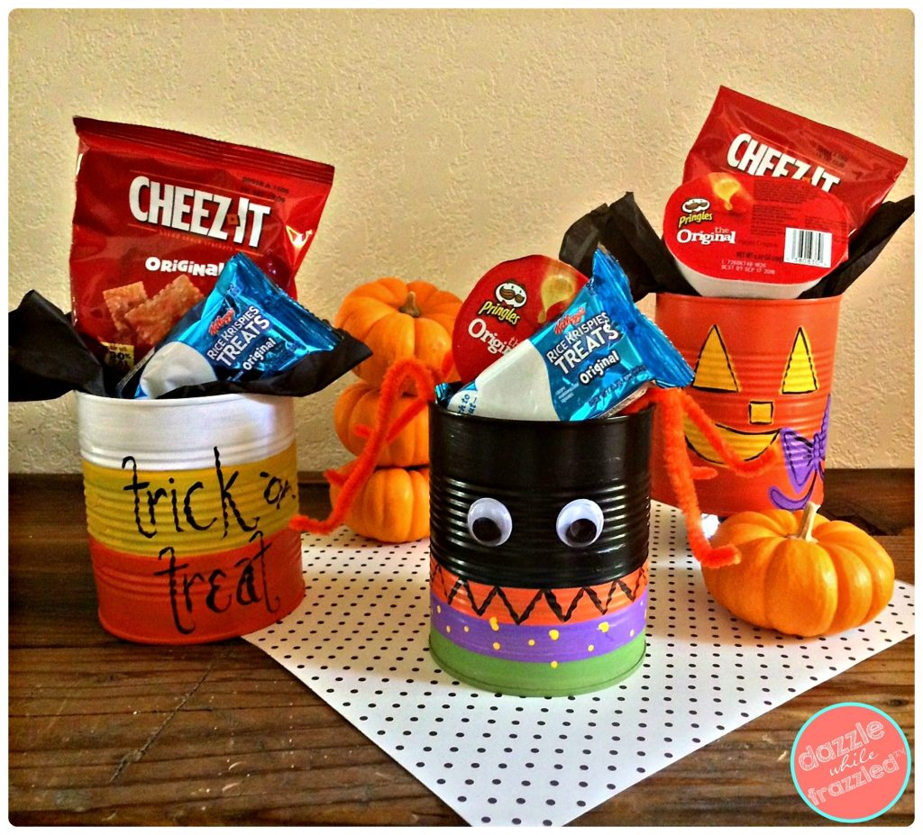 Painted Halloween treat cans