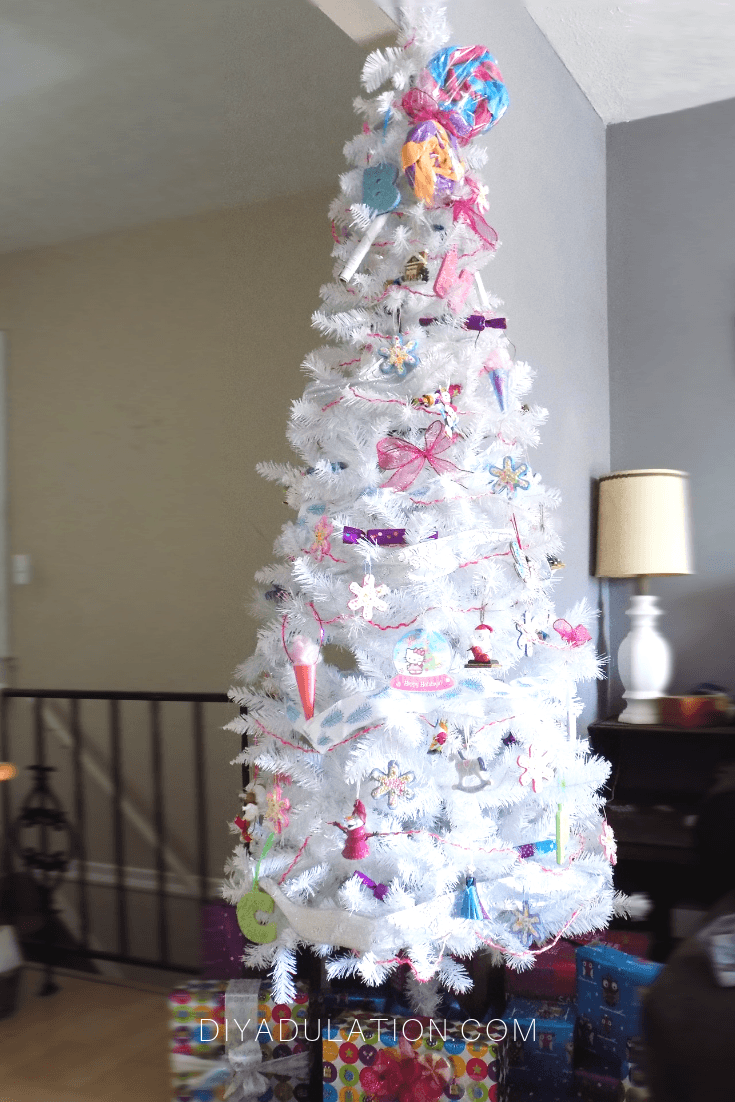 Decorated White Christmas Tree in Living Room