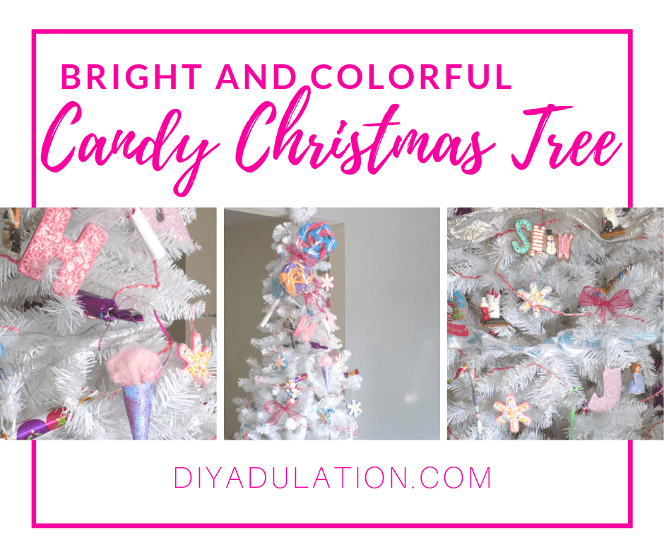 Decorated White Christmas Tree in Living Room with text overlay - Bright and Colorful Candy Christmas Tree