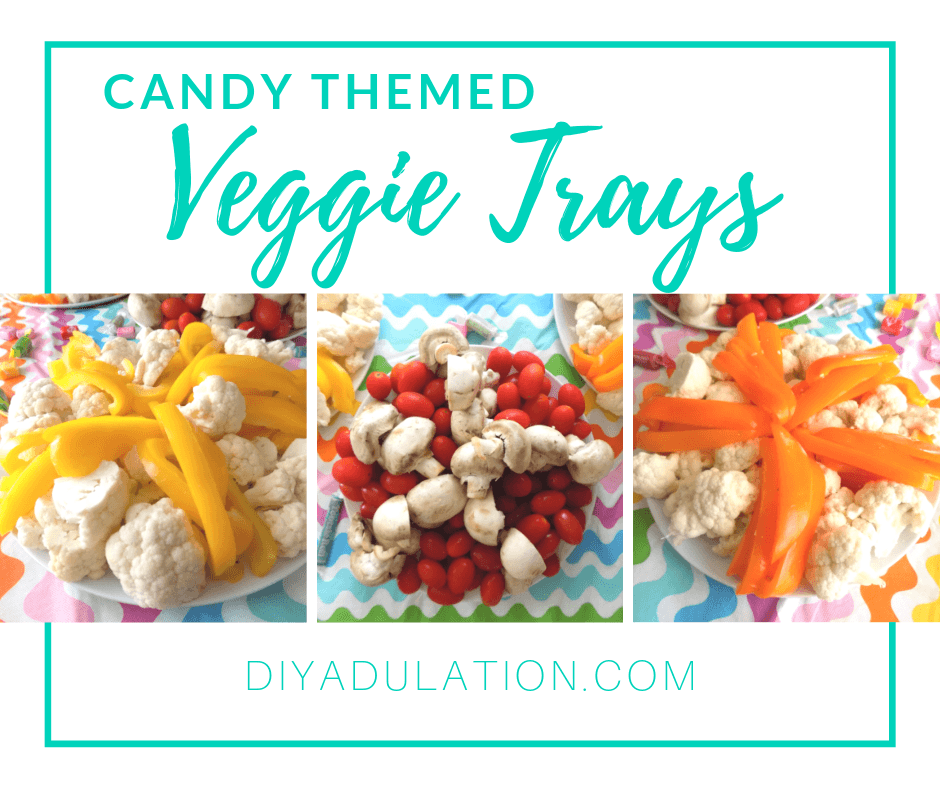 Collage of Starburst Candy Veggie Trays with text overlay - Candy Themed Veggie Trays