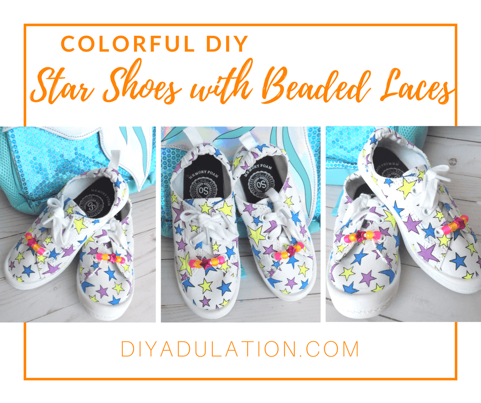 Collage of photos of Kids Shoes with text overlay: Colorful DIY Star Shoes with Beaded Laces