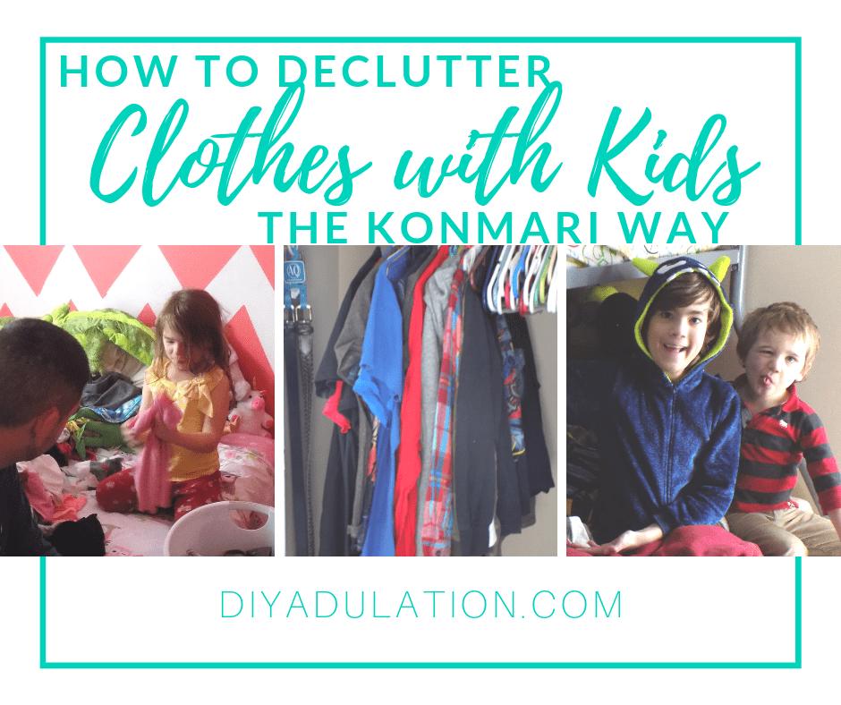 Collage of Kids Sitting on Bed and Decluttering with text overlay - How to Declutter Clothes with Kids the KonMari Way