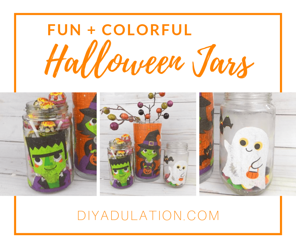 Collage of Frankie, Witch, and Ghost Jars with text overlay - Fun and Colorful Halloween Jars