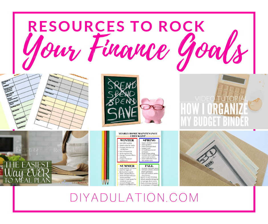 Collage of Finance and Budget Photos with text overlay - Resources to Rock Your Finance Goals