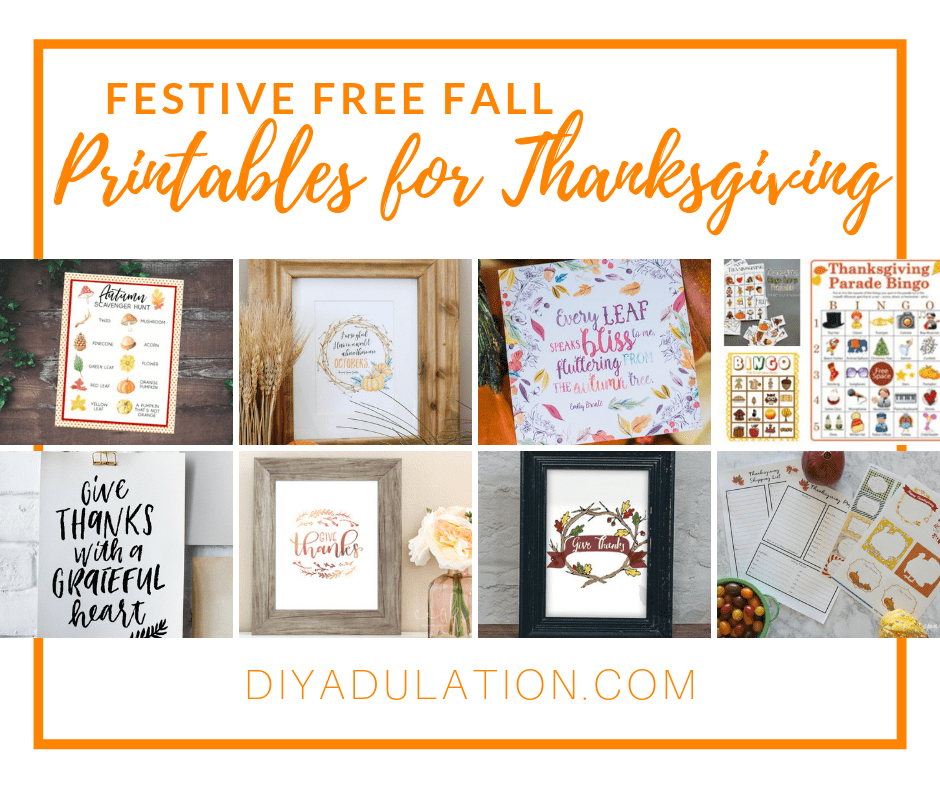 Collage of Printables with text overlay - Festive Free Fall Printables for Thanksgiving