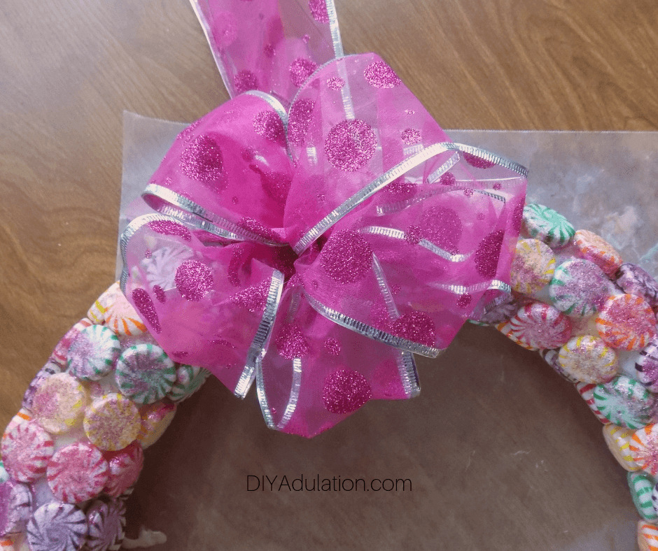 Fluffed Up Bow Attached to Candy Wreath