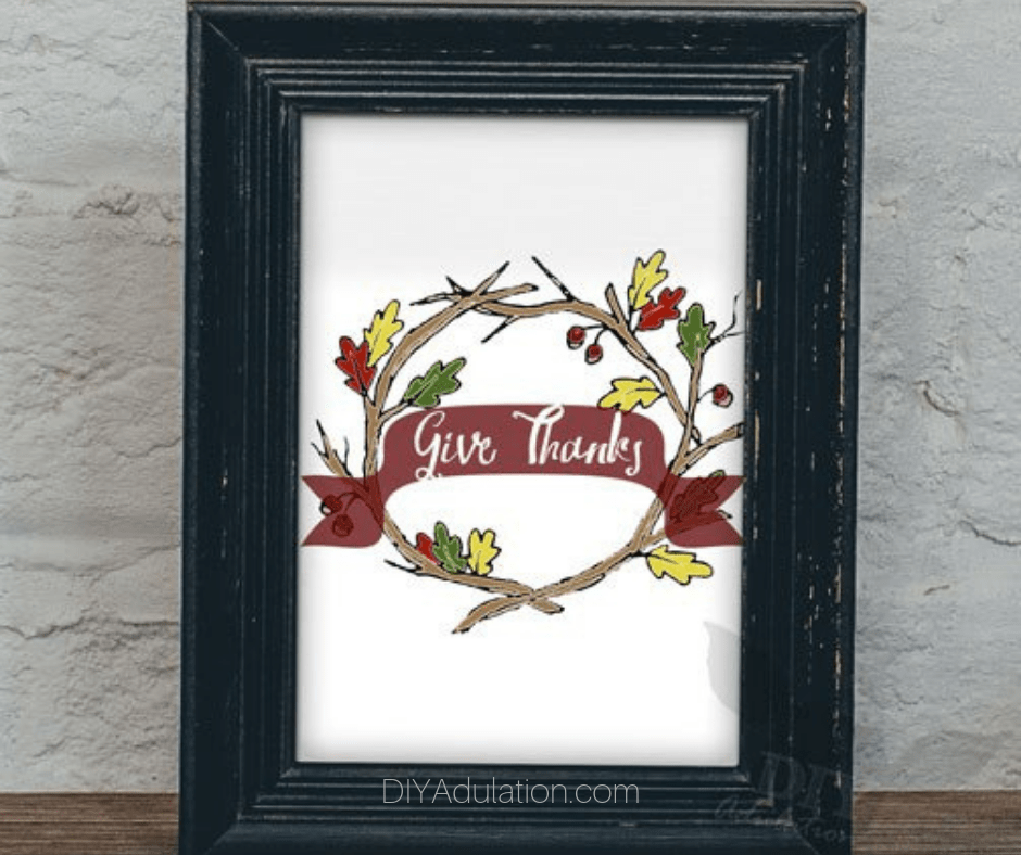 Give Thanks Artwork in Black Wooden Frame