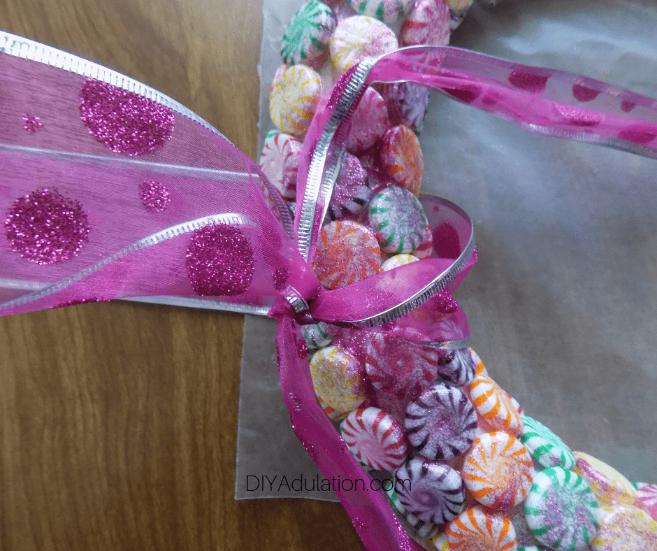 Glitter Ribbon Tied on Candy Wreath