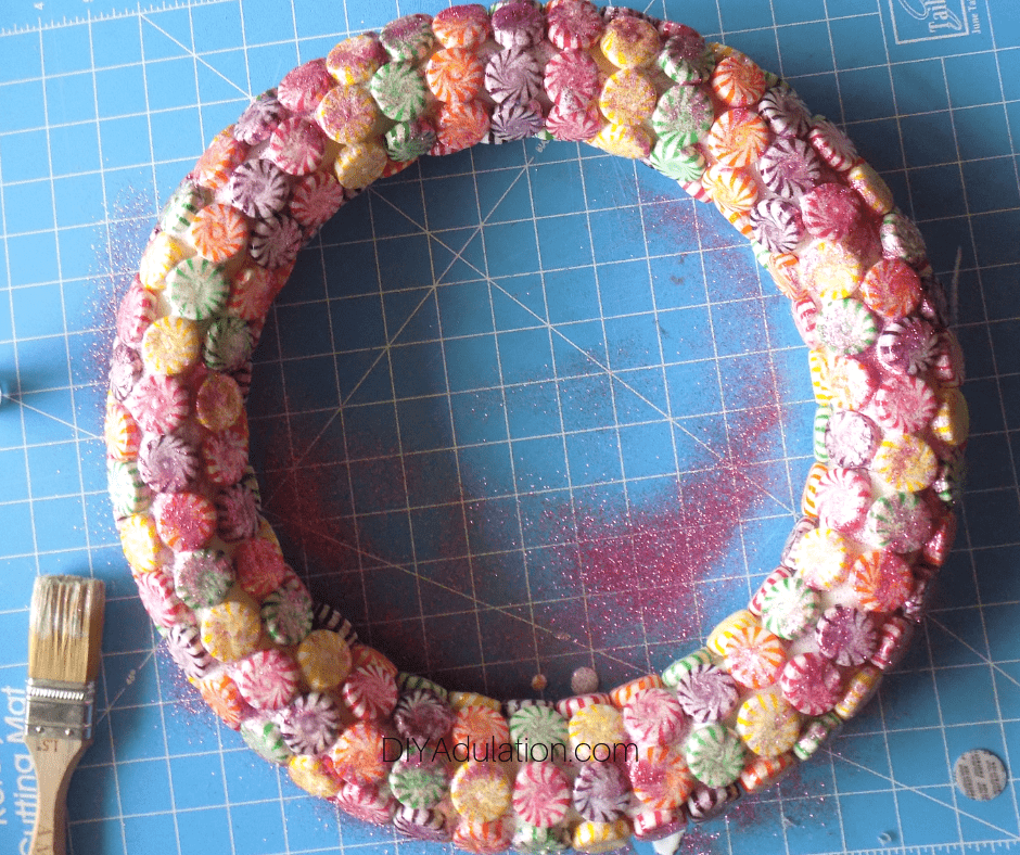 Glitter on Candy Wreath