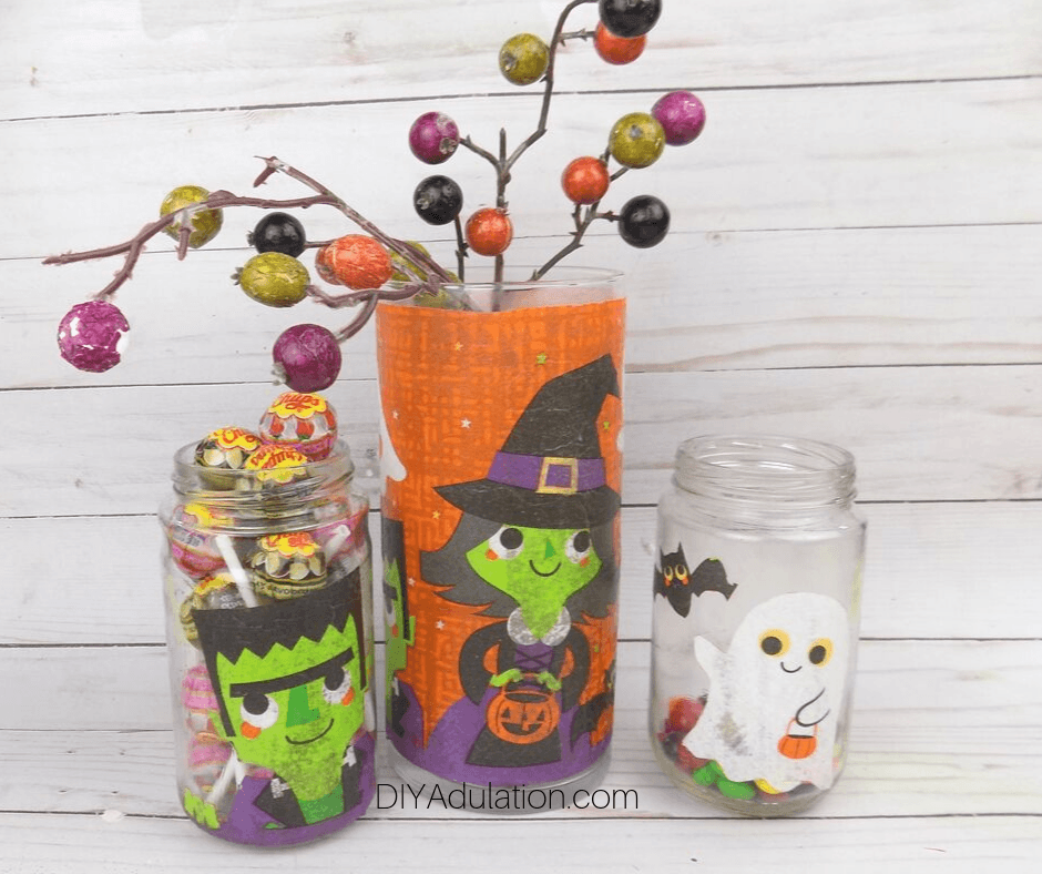 Halloween Jars on Wood Background