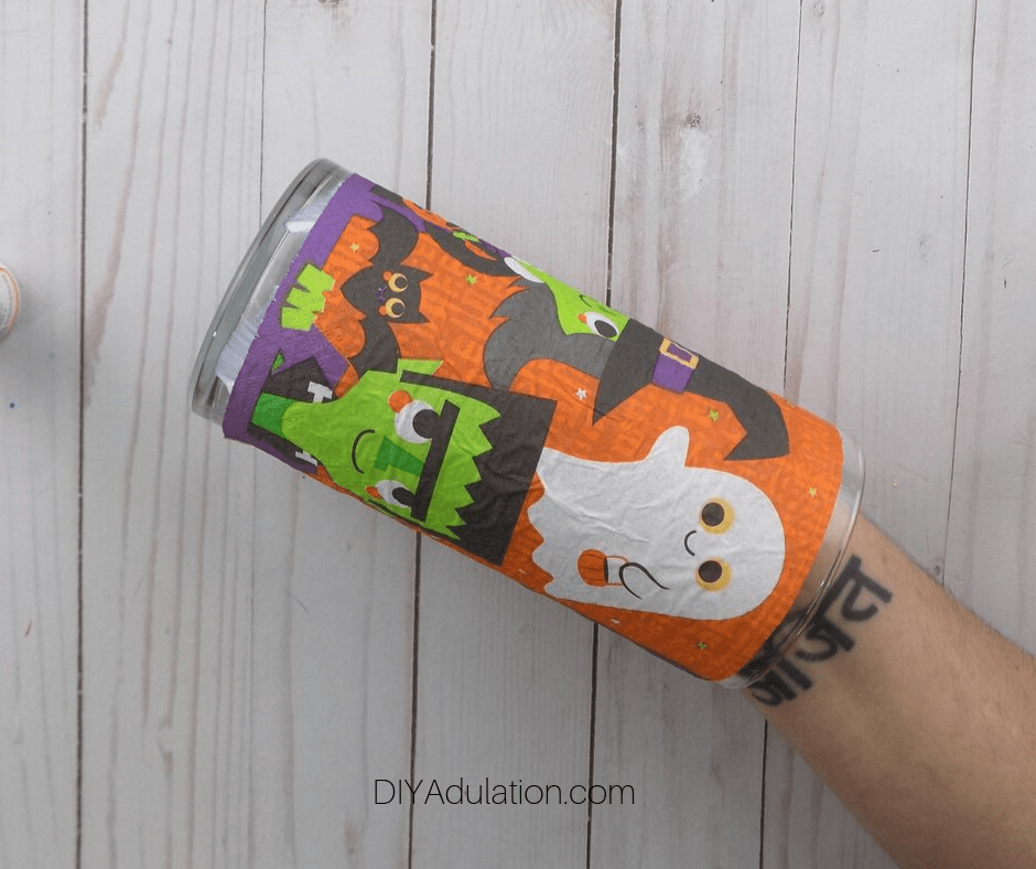 Halloween Napkin Attached to Cylinder Vase