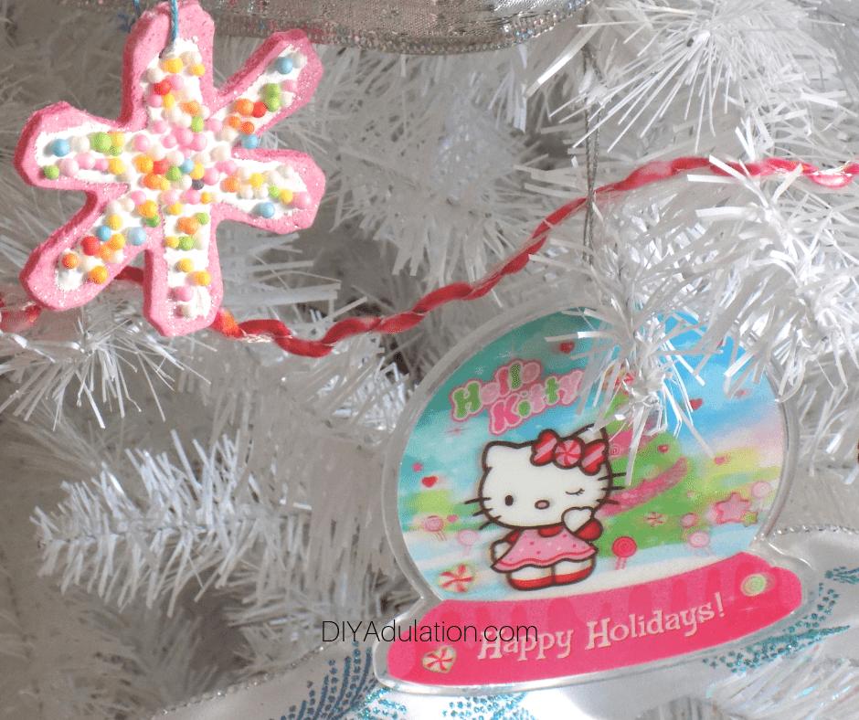Hello Kitty Ornament on White Tree