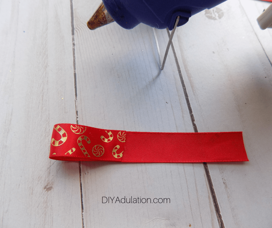 Hot Glued Edge of Ribbon