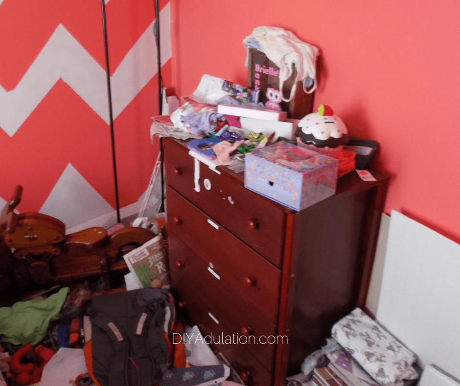 Messy Dresser Area in Girls Room