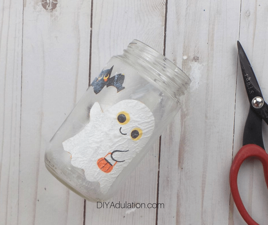 Mod Podge Bat and Ghost on Glass Jar