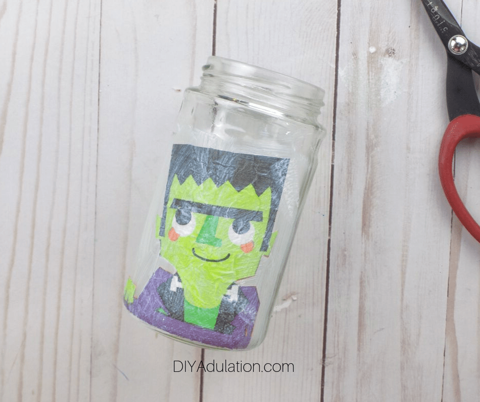 Mod Podge Frankenstein on Glass Jar