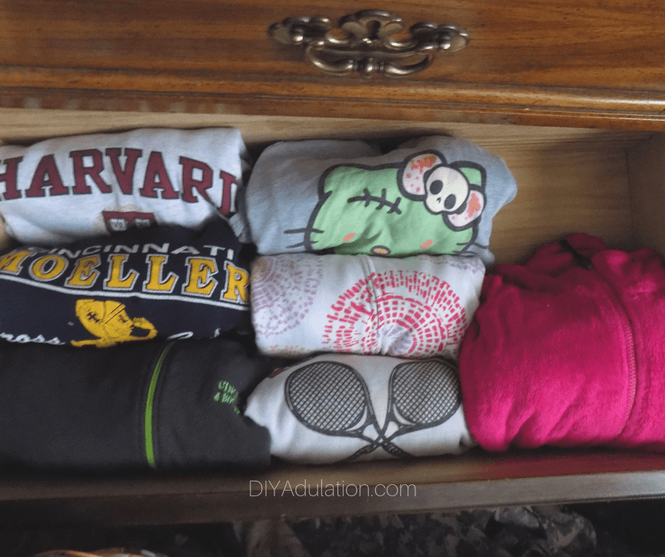 Neatly Folded Sweatshirts in Drawer