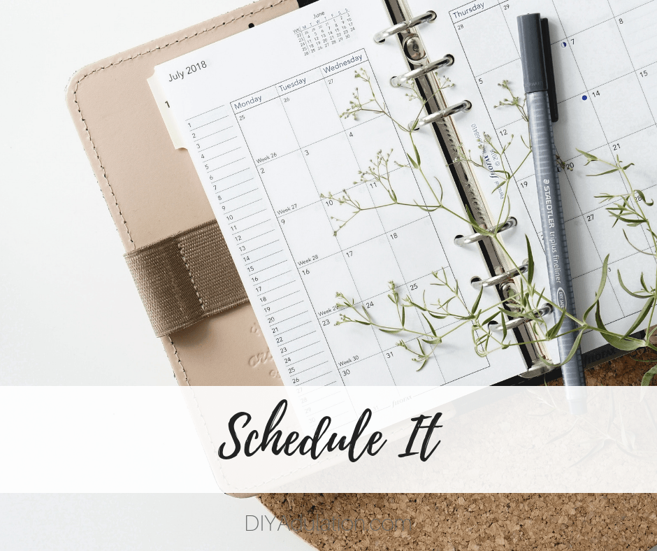 Open Planner with Pen with text overlay - Schedule It