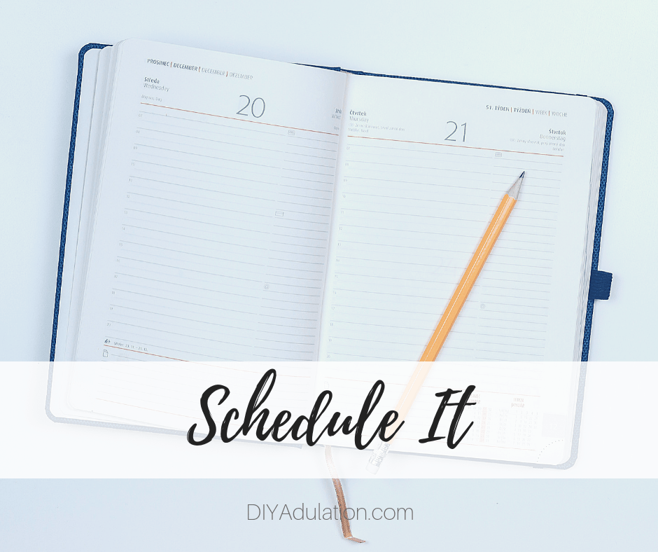 Open Planner with Pencil with text overlay - Schedule It
