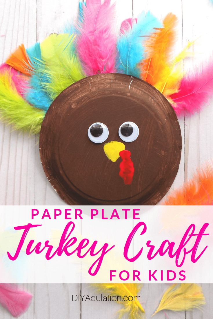 Paper Plate Turkey with text overlay - Paper Plate Turkey Craft for Kids