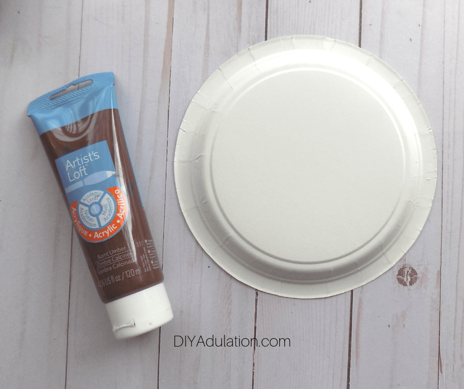 Paper Plate next to Brown Paint
