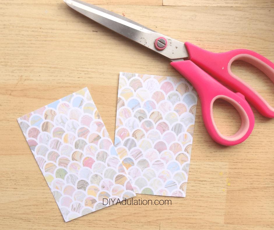 Pastel Card Half Cut In Half
