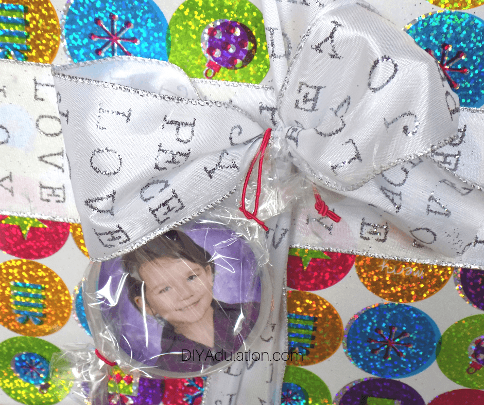 Photo Gift Tag on Glittery Gift Bow