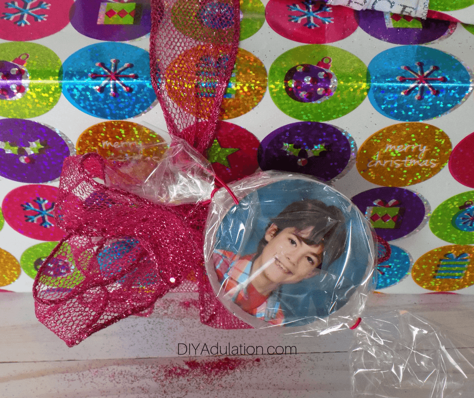 Photo Gift Tag on Glittery Gift