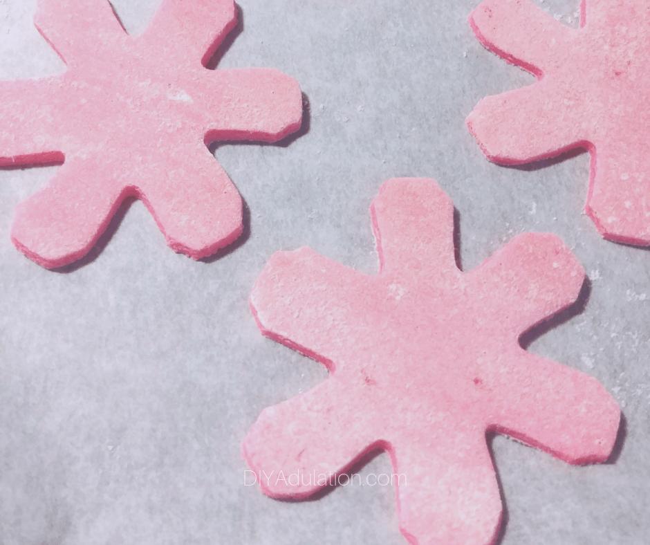 Pink Salt Dough Snowflakes